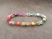 Bracciale chainmail micro bizantina arcobaleno multicolor