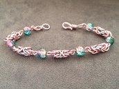 Bracciale chainmail micro bizantina rosa azzurro argento