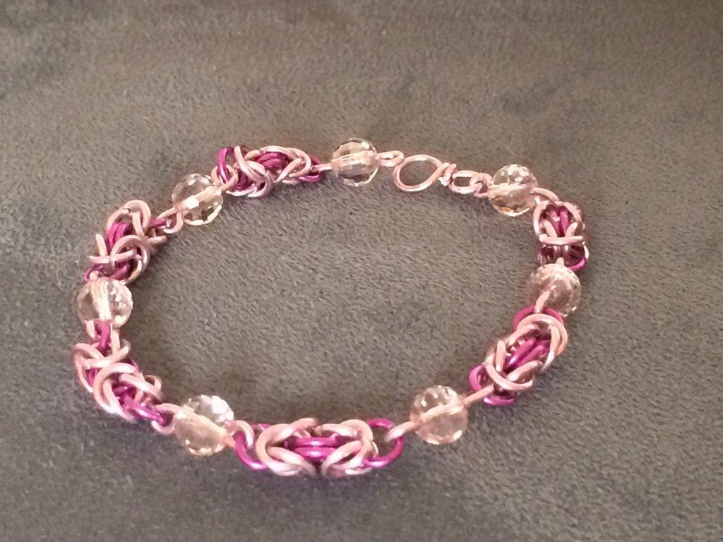 Bracciale chainmail micro bizantina rosa fucsia
