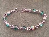 Bracciale alluminio lilla rosa e verde