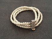 Bracciale a 3 fili con perline bianche