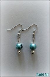 Orecchini pendenti con perle drawbench azzurre