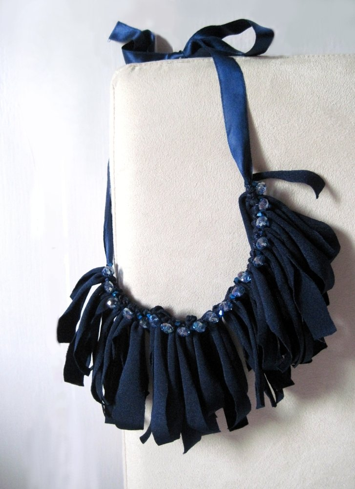 .Collana ombre blu  - Blue shadows necklace - stretch fabric -