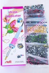 Applicatore strass + 6.000 strass + 3.000 borchie + carta strass