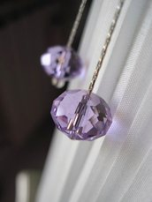 Cristallo lilla  orecchini pendenti - Lilac Crystal pendant earrings