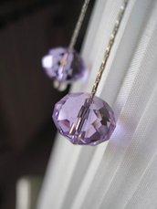 Cristallo lilla  orecchini pendenti - Lilac Crystal pendant earrings