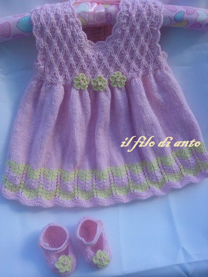 Abitino e scarpine in rosa con fiori gialli