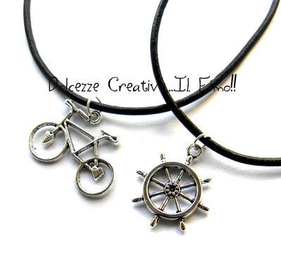 Collana Bicicletta - Similpelle - Vegan - idea regalo Unisex - bici