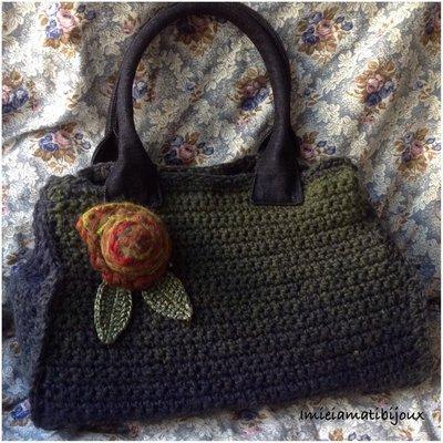 Borsa uncinetto lana fiore