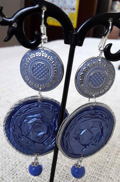 Orecchini doppio cerchio blu
