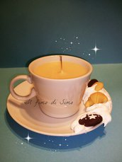 set tazzina con piattino in porcellana decorata in fimo con candela