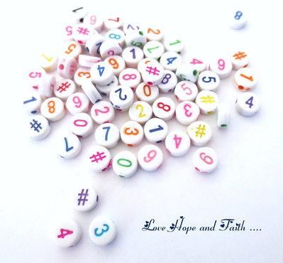 """Lotto 10 Perline in acrilico """"Numeri colorati"""" (7 mm) (cod.36735)"""