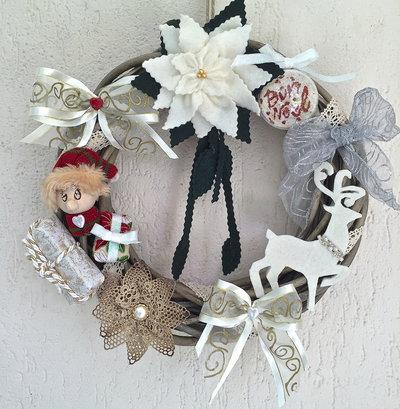 Natale - Ghirlanda con folletto e renna