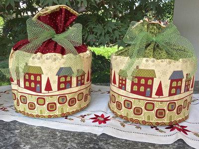 Natale - porta panettone casette