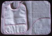 Set asilo 2 pezzi da ricamare punto croce tela aida bavaglino tovaglietta