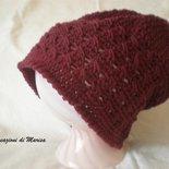 Cappello lana rosso Bordeaux uncinetto