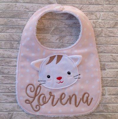 Bavaglia Gatto personalizzata con nome - Bimba 6-18 mesi