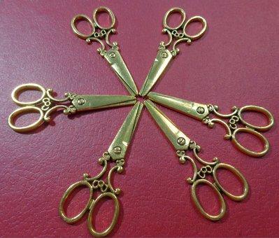 6 Pendenti Forbice in Argento Tibetano color Oro Antico