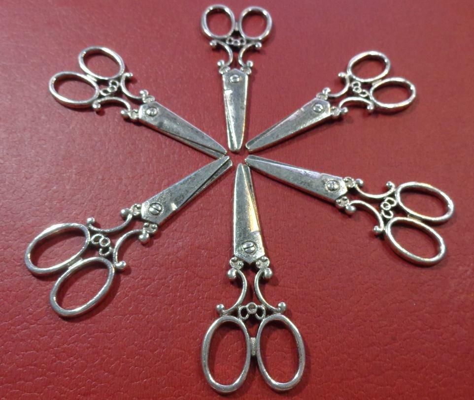 6 Pendenti Forbice in Argento Tibetano color Argento Antico