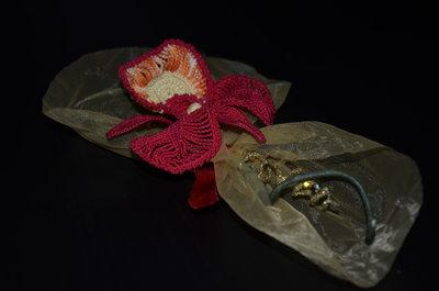 Segnaposto orchidea all'uncinetto