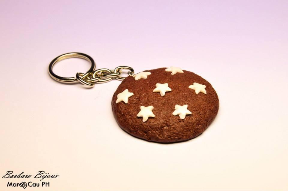 Portachiavi pan di stelle in pasta polimerica (fimo)