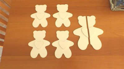 INSERZIONE RISERVATA PER CHICCA - lotto orsetti decoro bianchi legno - no fimo