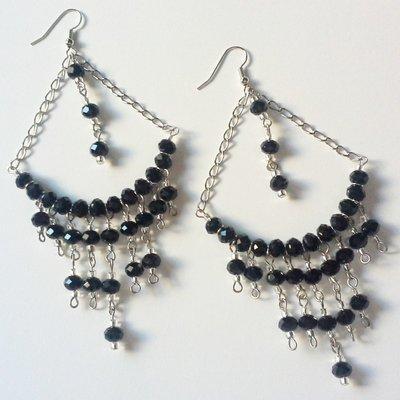 Orecchini Chandelier argento neri
