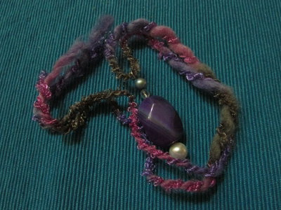 collana  agata viola e perle di fiume.