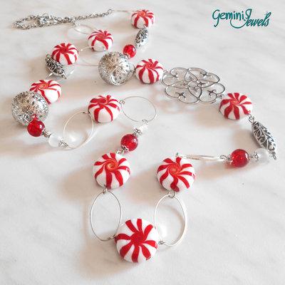 Collana lunga lampwork bianco, rosso e argento