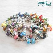 Bracciale snake con perle in vetro, ceramica e strass, colore a scelta