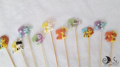 Spiedini di caramelle decorati per caramellate animaletti e colori misti per bimbo