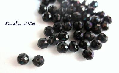 LOTTO 10 perle in vetro nero sfaccettate (6 mm)  (cod.06135)