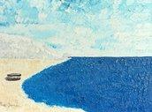 Quadro, Dipinto ad Olio, barca, mare, oceano, orizzonte, spiaggia, barche, navi, collina, montagna, roccia, scogliera, nuvole bianche