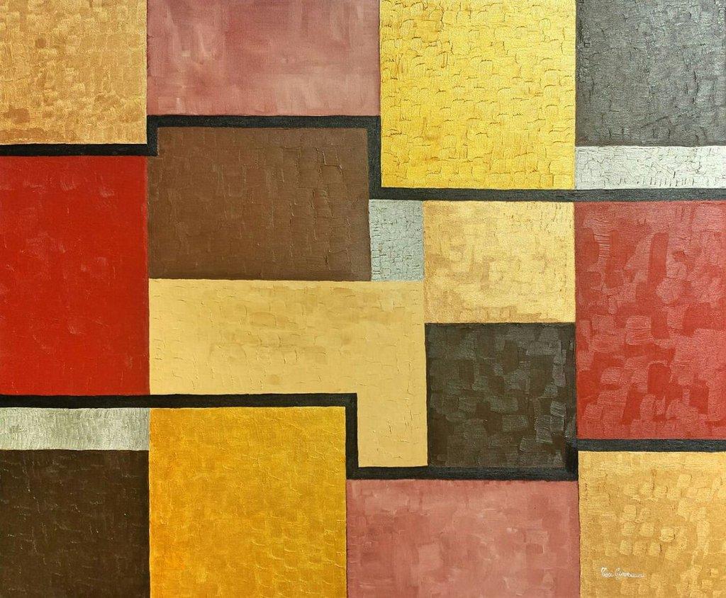 Quadro moderno, Dipinto ad olio, geometrico, contemporaneo, astratto, cubo, quadrati, con colori iridescenti, oro, linee