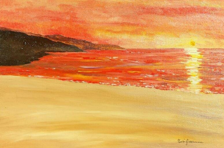 Quadro, Dipinto ad Olio, mare, oceano, orizzonte, tramonto, spiaggia, scogli, colori, onde, sole, tranquillità, beatitudine