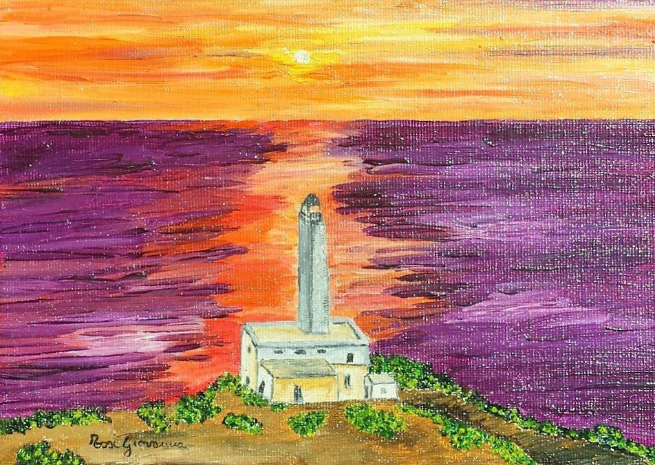 Quadro, Dipinto ad Olio, mare, oceano, orizzonte, arbusti, vegetazione, abitazione, tramonto, faro