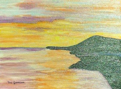 Quadro, Dipinto ad Olio, mare , oceano , orizzonte , tramonto , scogliera , scogli , crepuscolo