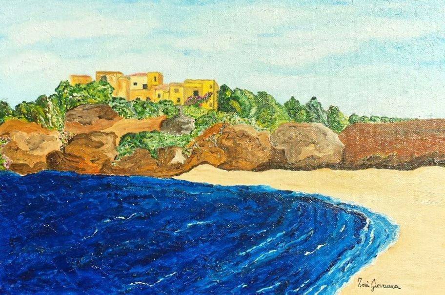 Quadro, Dipinto ad Olio, mare, oceano, foresta, arbusti, vegetazione, soleggiato, sole, vento, spiaggia, scogli, rocce, paese, cielo azzurro
