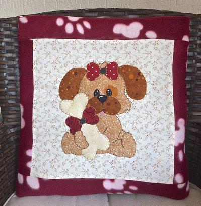 cuscino quillow cagnolina rosso - un cuscino con dentro un plaid