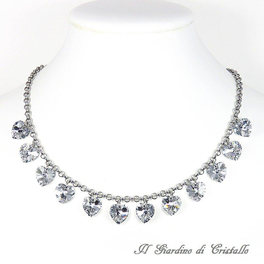 Collana girocollo in acciaio con cuori cristallo Swarovski argento fatta a mano - Calla