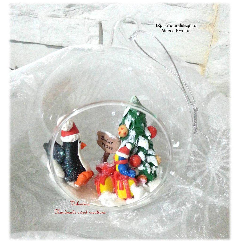 Sfera palla di Natale pinguino albero neve