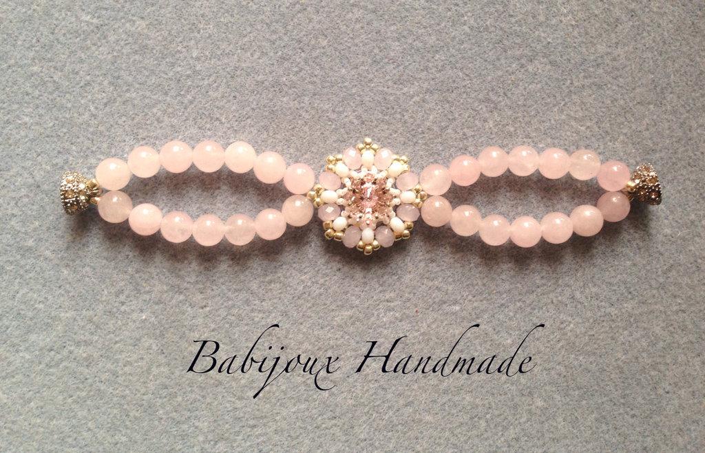 Bracciale Quarzo rosa con rivoli centrale