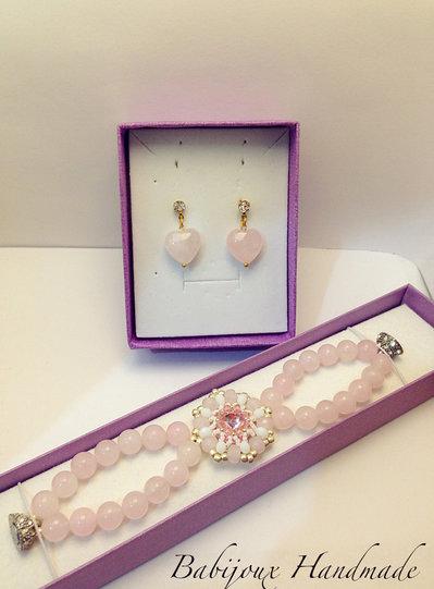 Parure quarzo rosa con orecchini e bracciale