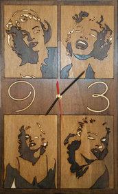 "Orologio 50x30 in legno "" Marilyn Monroe """