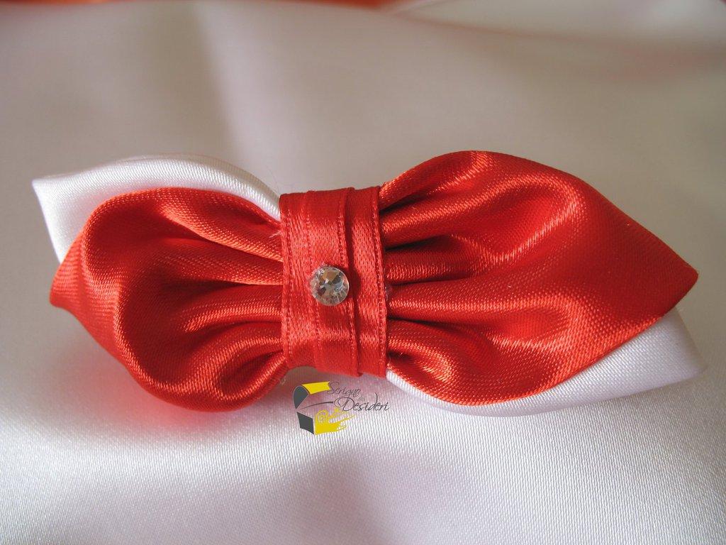 Fermaglio Fiocco in raso rosso per capelli