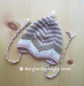 Berrettino cappellino neonato a righe beige e rosa in pura lana e alpaca