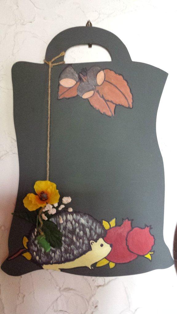 Lavagna in legno decorata autunno