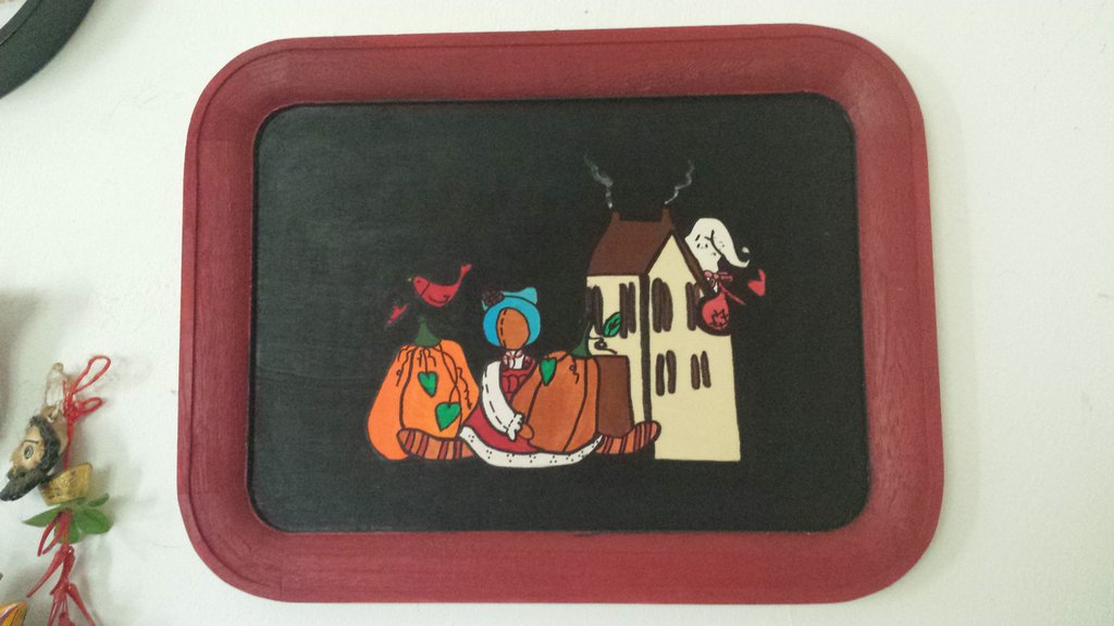 Vassoio in legno decorato autunno halloween country