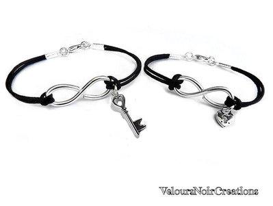 coppia bracciali simbolo infinito con lucchetto a cuore per lei chiave per lui idea regalo