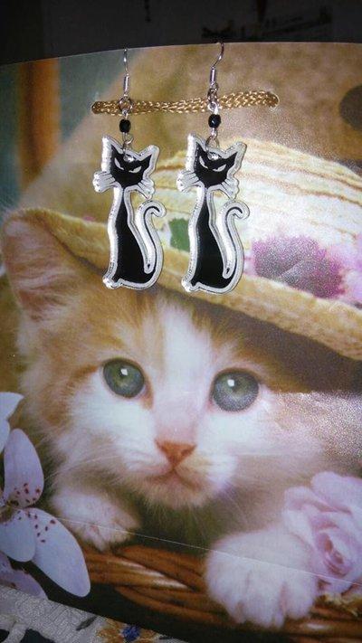 Orecchini gatto in plexiglass a specchio gioielli - Plexiglass a specchio ...